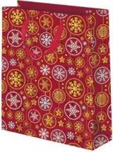 Пакет подарочный Снежинки 26х32 см, красный