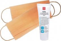 Набор гель New Code антисептический и маски защитные 2 шт, персиковый