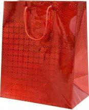 Пакет подарочный Голография-2 26х32 см, красный