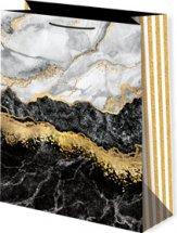 Пакет подарочный Мрамор черный 33х45 см