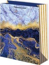 Пакет подарочный Мрамор синий 33х45 см