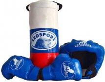 Детский боксерский набор Leosport №3, мешок 40х18 см, детские перчатки, защитный шлем