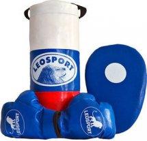 Детский боксерский набор Leosport №2, мешок 40х18 см, детские перчатки, боксерская лапа