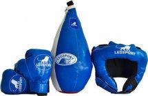 Детский боксерский набор Leosport №6, груша мешок 45х20 см, детские перчатки, шлем