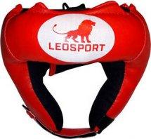 Шлем боксерский набивной Leosport взрослый, красный