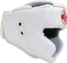 Шлем для каратэ с закрытым подбородком и верхом головы Leosport детский S экокожа, белый