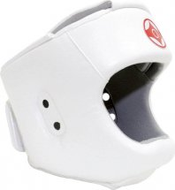 Шлем для каратэ с защитой верха головы Leosport подростковый L экокожа, белый