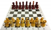 Набор шахматы Ладья-С обиходные в пакете и шахматная доска картон 31х31 см