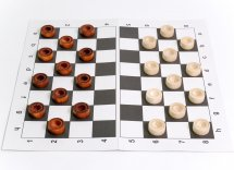 Набор шашки Ладья-С деревянные и шахматная доска картон 31х31 см